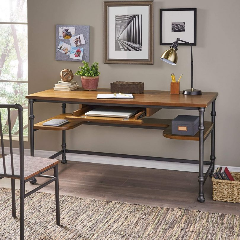 Christopher Knight Home Lochlin Industrial Faux Ash Wood Overlay Desk