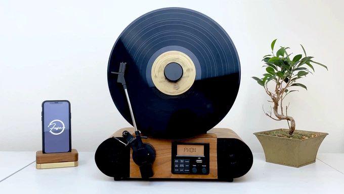 Fuse Vert Vertical Vinyl Record Player with Audio Technica Cartridge + Bluetooth