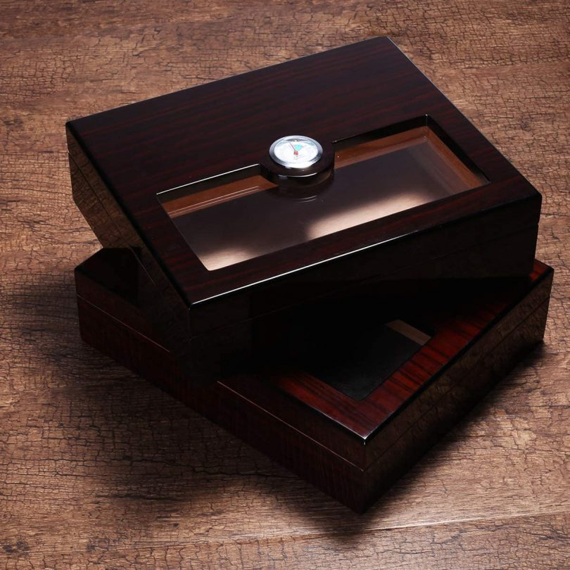 Woodronic Handmade Glass Top Cigar Humidor