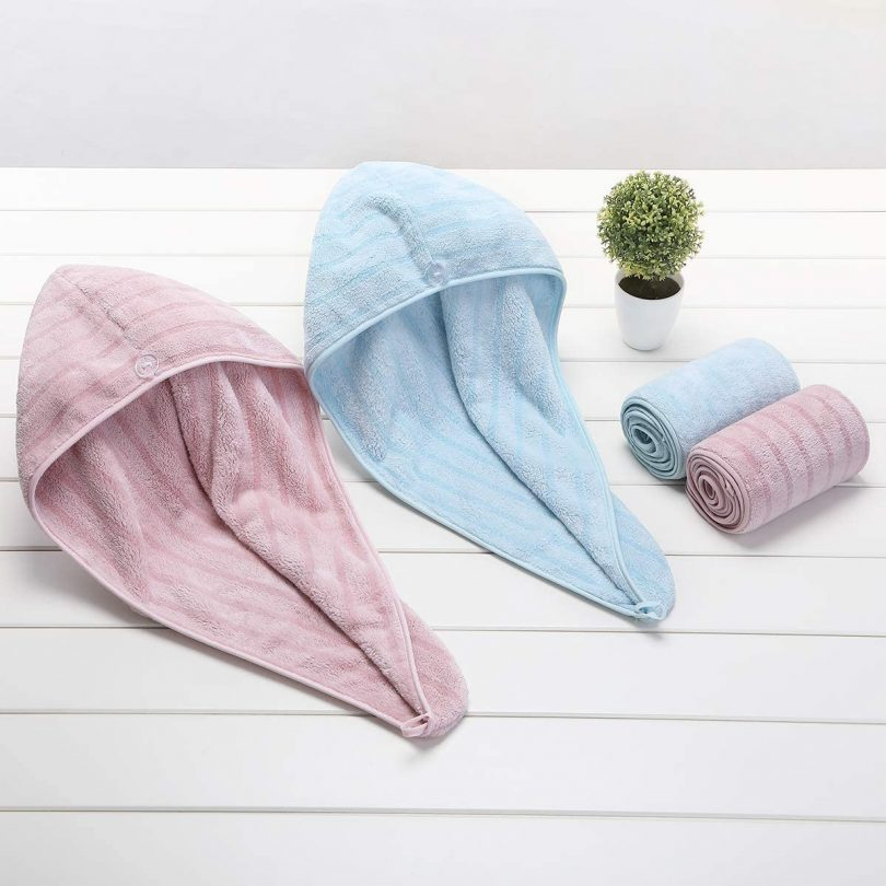 CHARS 2 Pack Microfiber Hair Towels