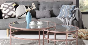 Nesting Table Round Glass Coffee Table 2 Piece Set