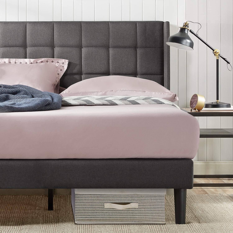 Zinus Dori Upholstered Square Stitched Wingback Platform Bed