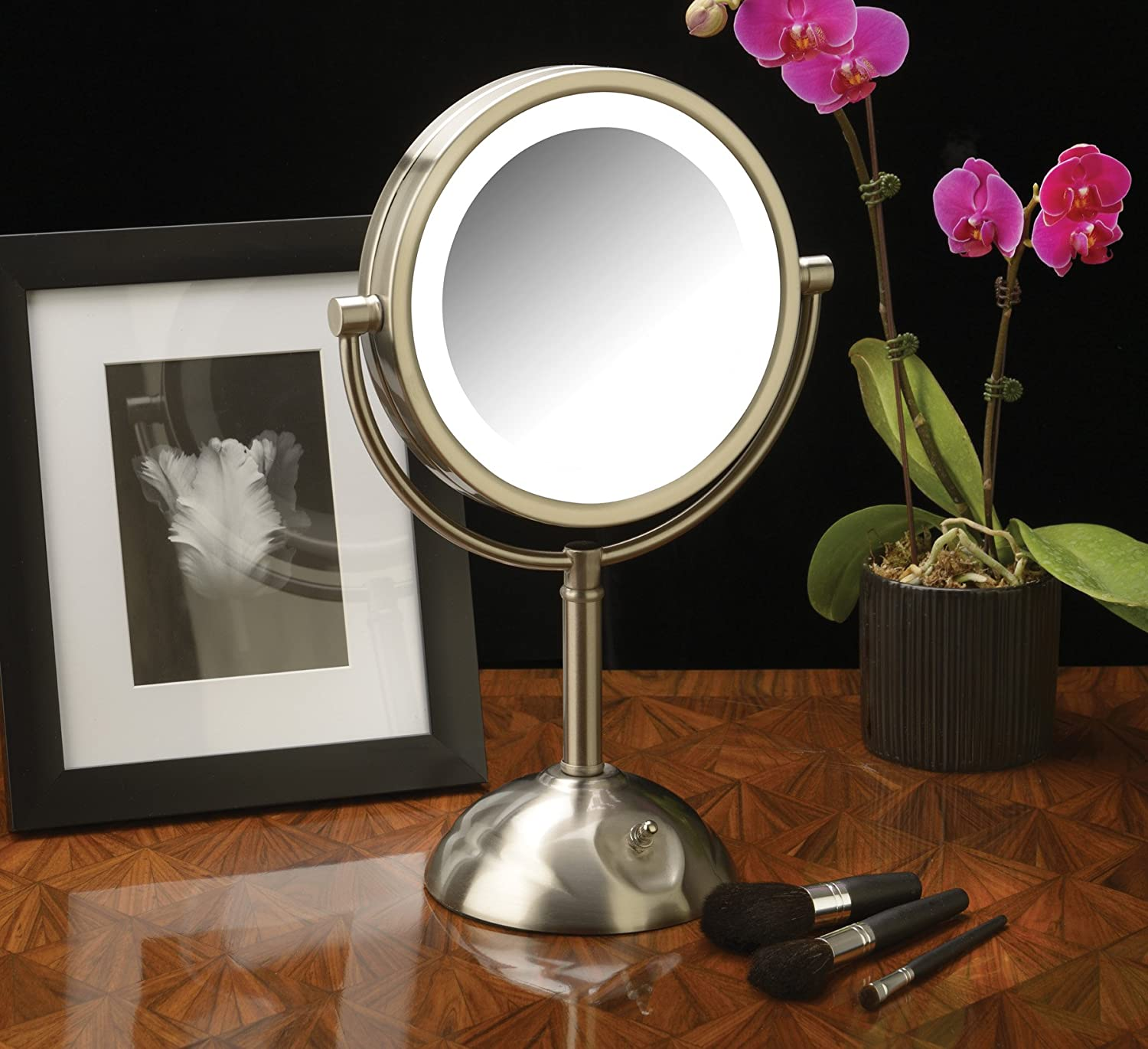 Jerdon HL8808NL 8.5-Inch Tabletop Two-Sided Swivel LED Lighted Vanity Mirror