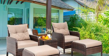 Vongrasig 5 PCS Patio Chair and Ottoman Set