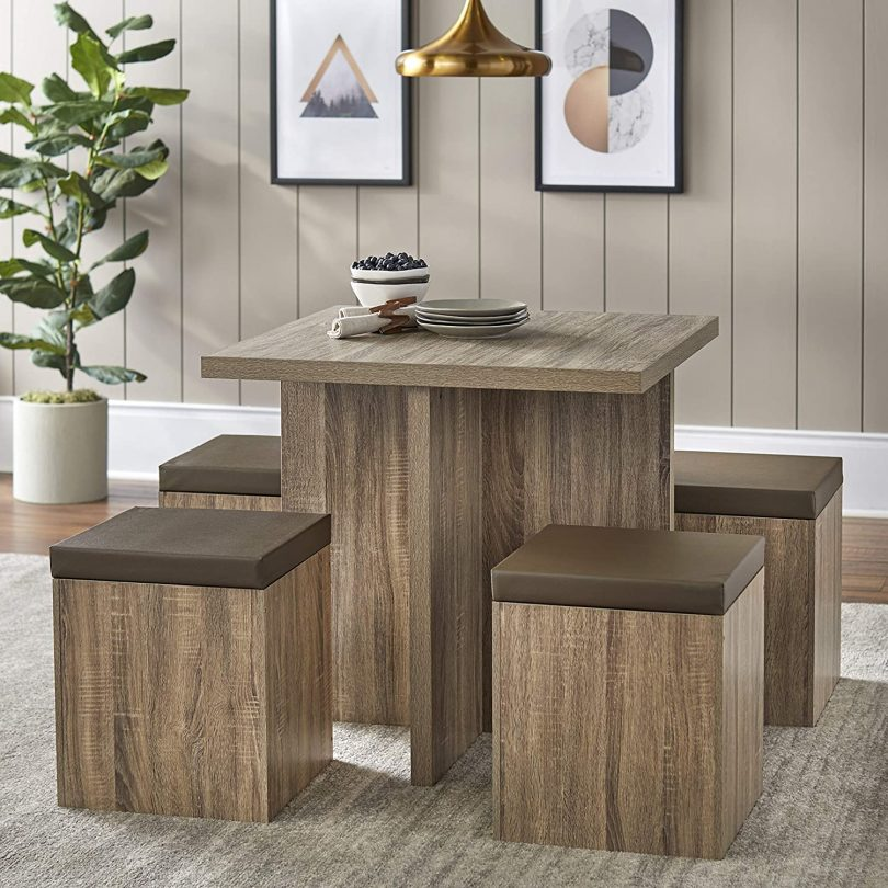 Dining Mainstays 5-Piece Dexter Set with Storage Ottoman