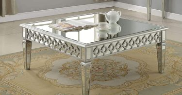 Best Master Furniture Silver Mirrored Square Coffee Table