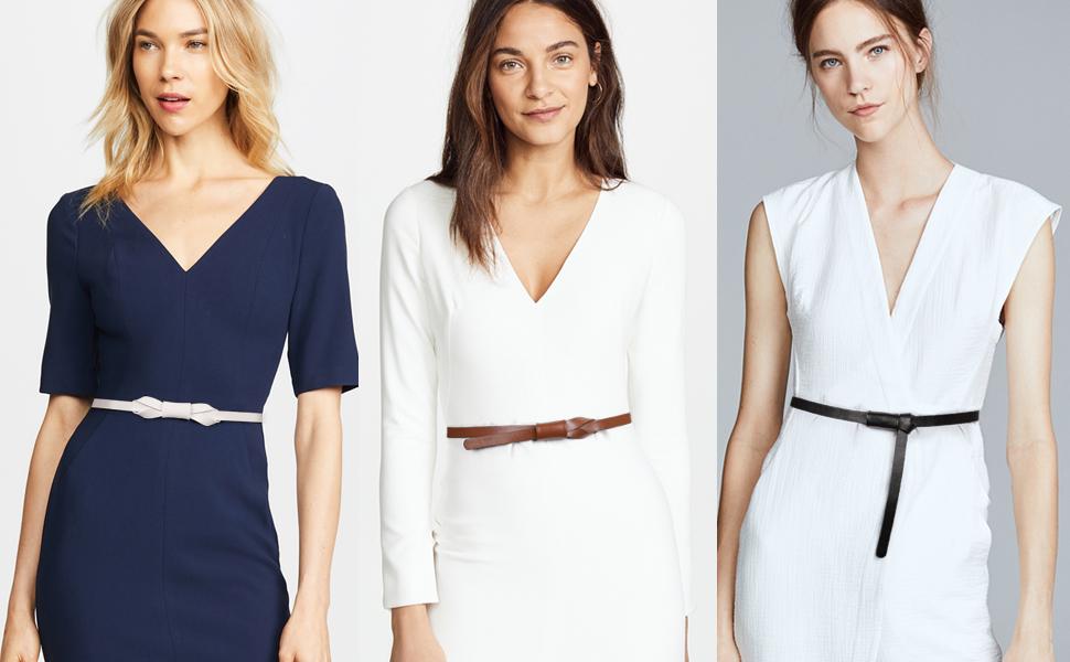 JASGOOD Women PU Leather Skinny Belt for Dress