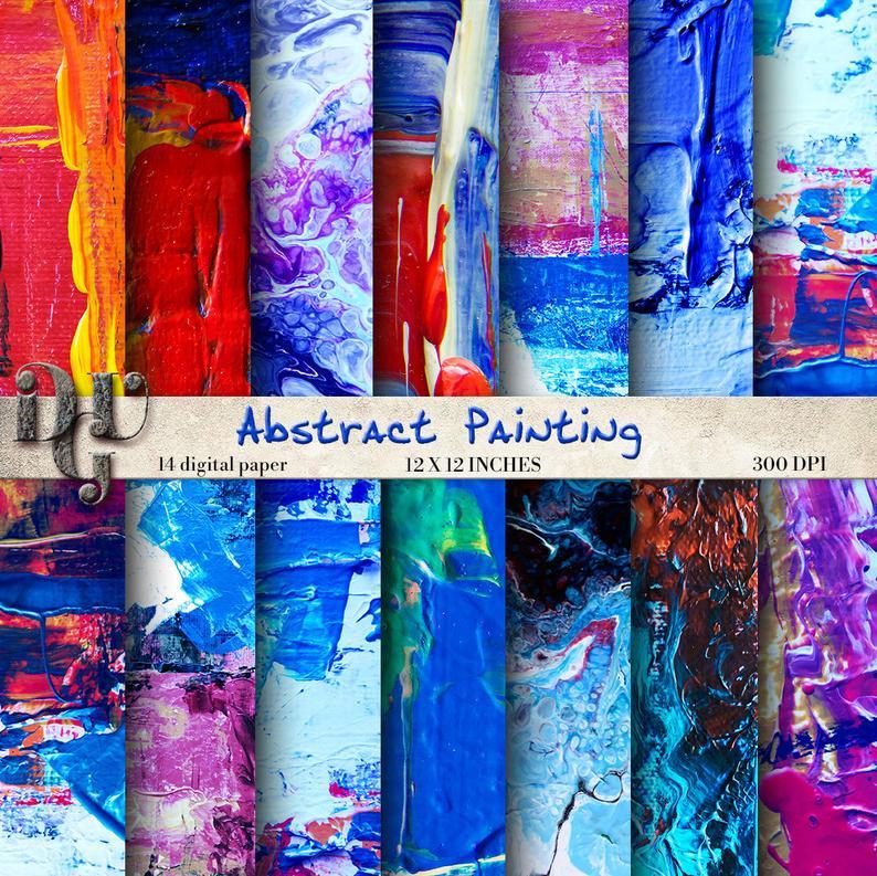 ACRYLIC Art Digital Paper Pack Modern Art Paper Painting