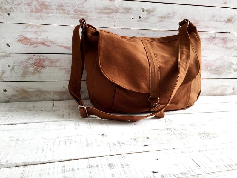 Brown Cognac canvas Messenger bag for women Canvas travel
