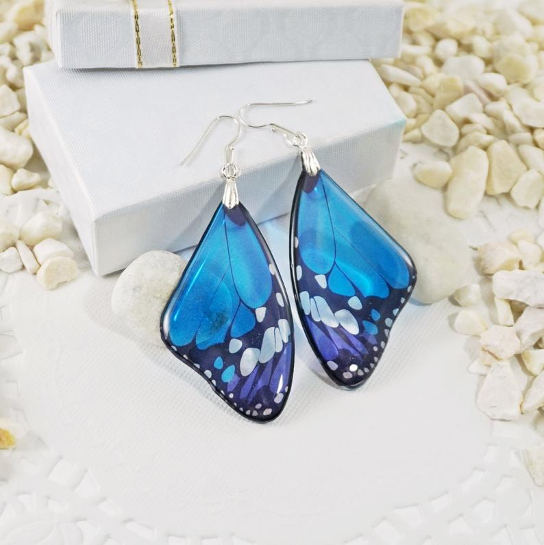 Classic Blue Butterfly Earrings Silver Bohemian Earrings