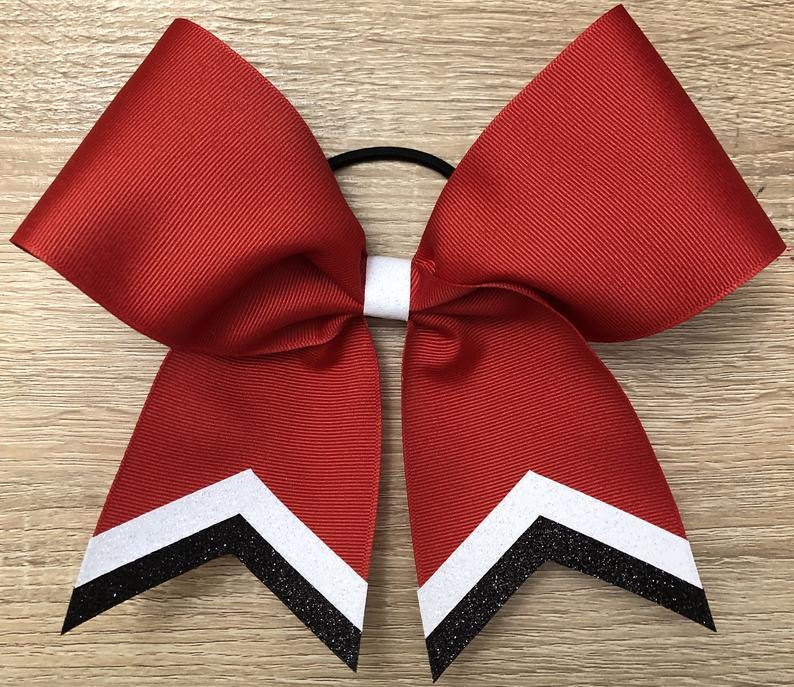 Custom Grosgrain Cheer Bow with Glitter Tails