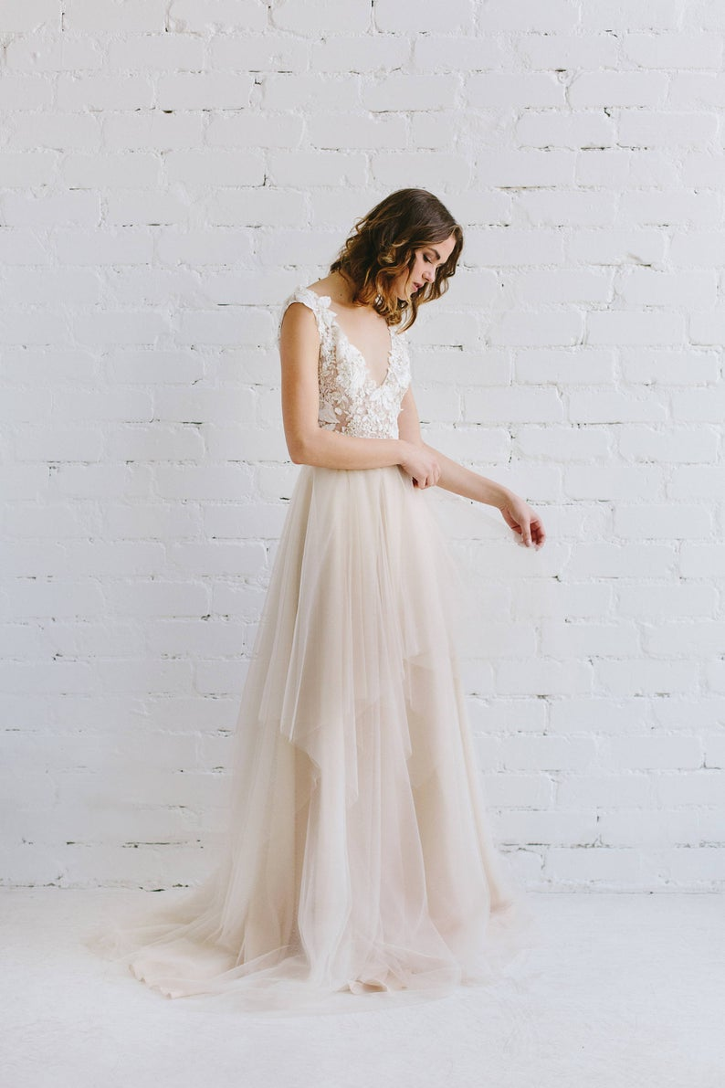 Lace Wedding Dress  Nude Wedding Gown  3D Wedding Dress with