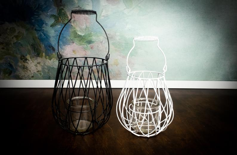 Metal and glass candle lantern woodland outdoor home shabby