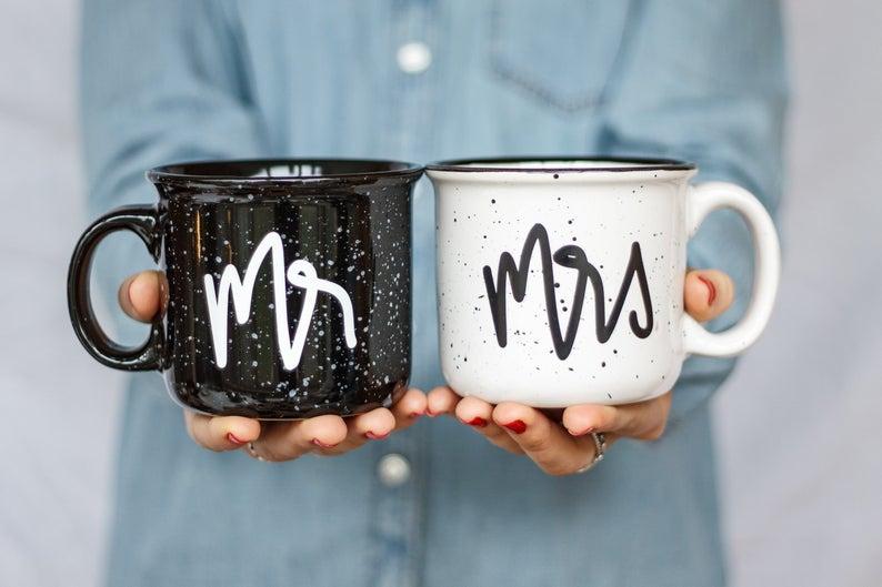 Mr and Mrs Campfire Ceramic Mugs  Wedding Gift   Engagement