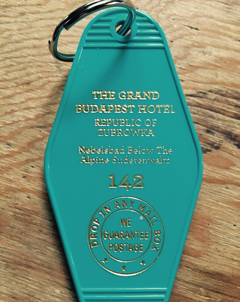 On SALE Teal and Gold lettered Grand Budapest Hotel Inspired