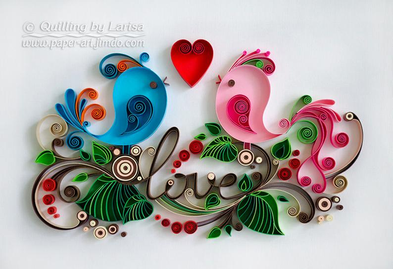 Quilling wall art Quilling art Paper quilling Love Birds