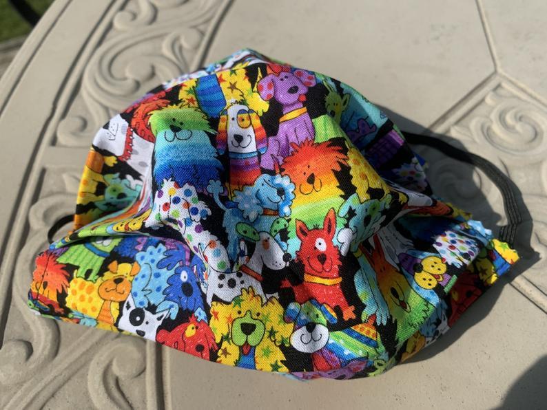 Rainbow Dog Fabric Face Mask