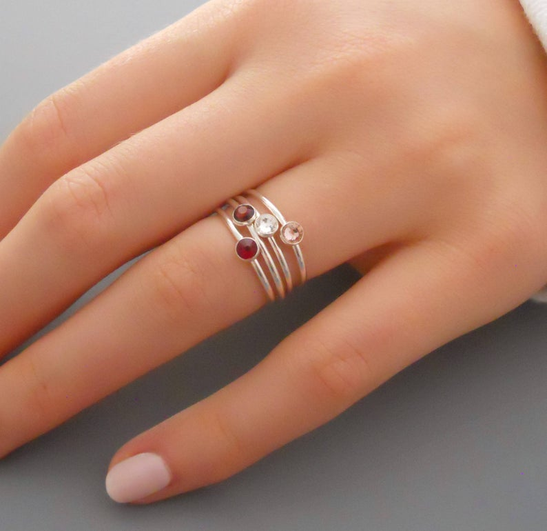 Set Of 4 Sterling Silver Birthstone Rings Stacking Ring Set