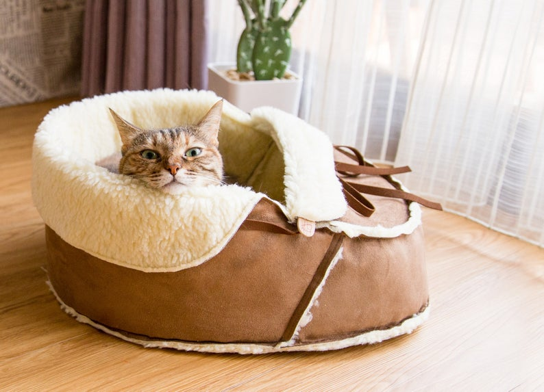 Sherpa Moccasin Shoe Cat SHoe Bed in Mocha With Vegan