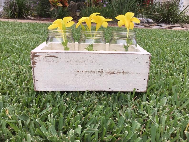 Table top box planter box mason jar center piece wood