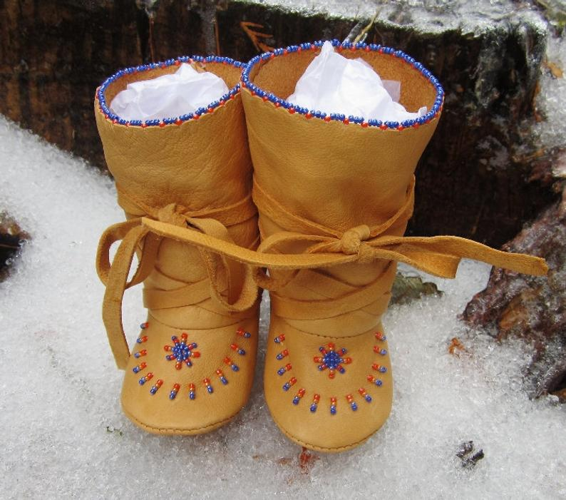 Winter Baby Boy Boots Christmas Gift Leather Native American