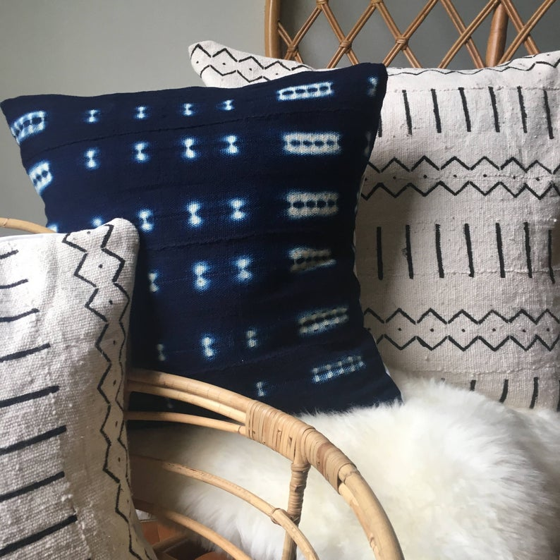 Amazing African Mudcloth Hand Stitched White & Black or