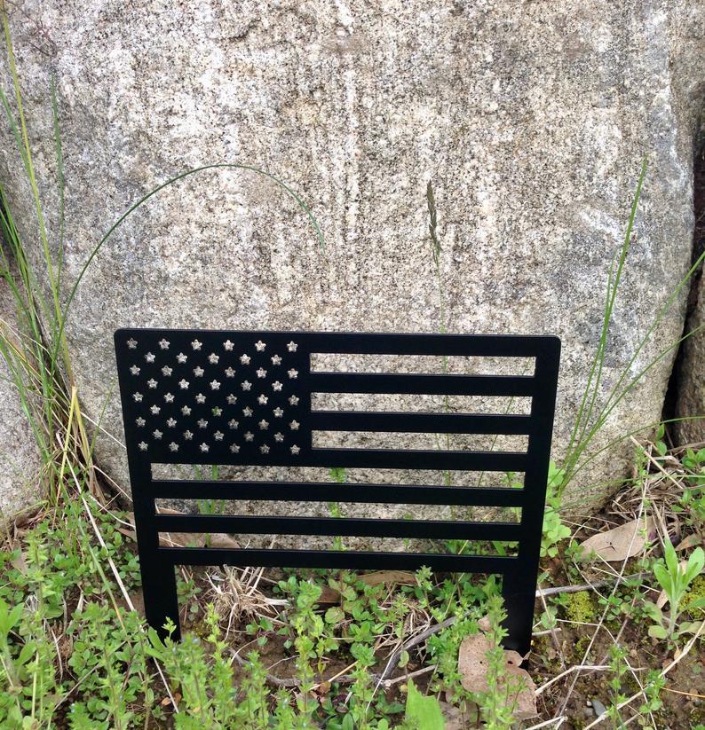 American Flag Metal Yard Sign