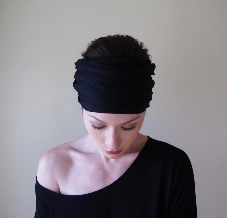 BLACK Head Scarf EcoShag Head Wrap Extra Wide Headbands for