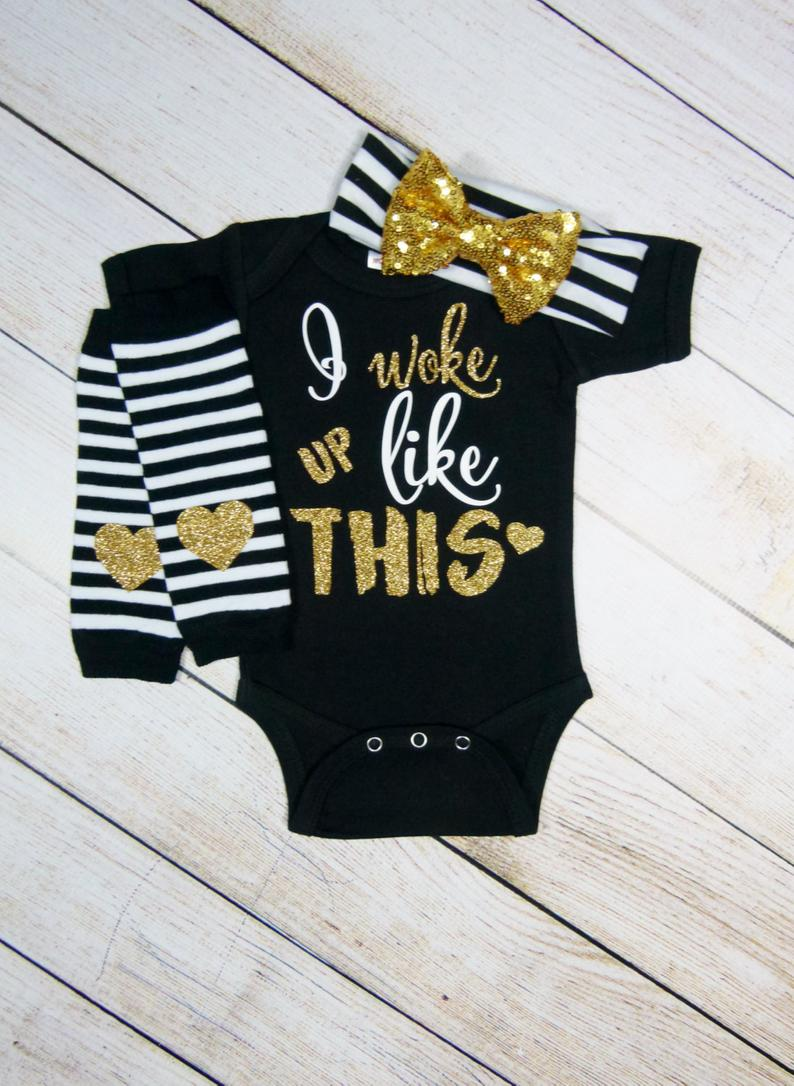 Baby Girl Clothes Hipster Baby Girl Gift Set Gold Black Baby