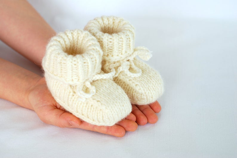 Baby pure merino wool booties baby first hand knitted wool