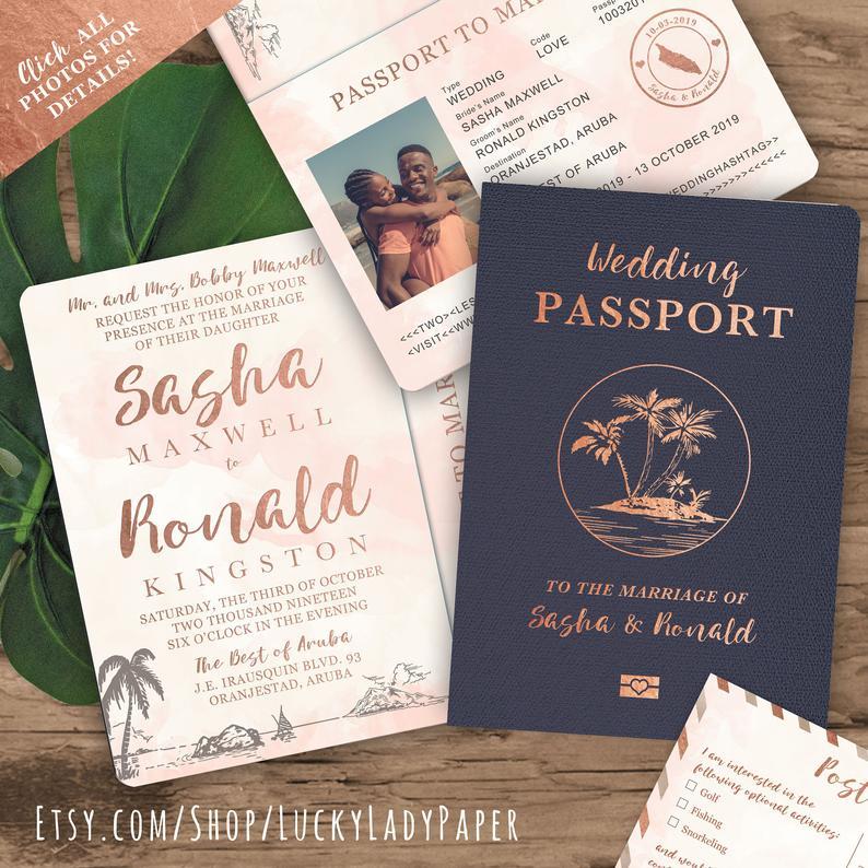 Beach Wedding Passport Save the Date Destination Invitation
