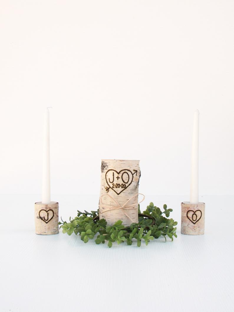 Birch Unity Candle Rustic Unity Candle Set Personalized