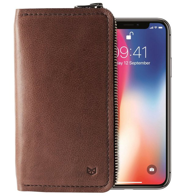 Brown Leather iPhone Case Wallet Stand