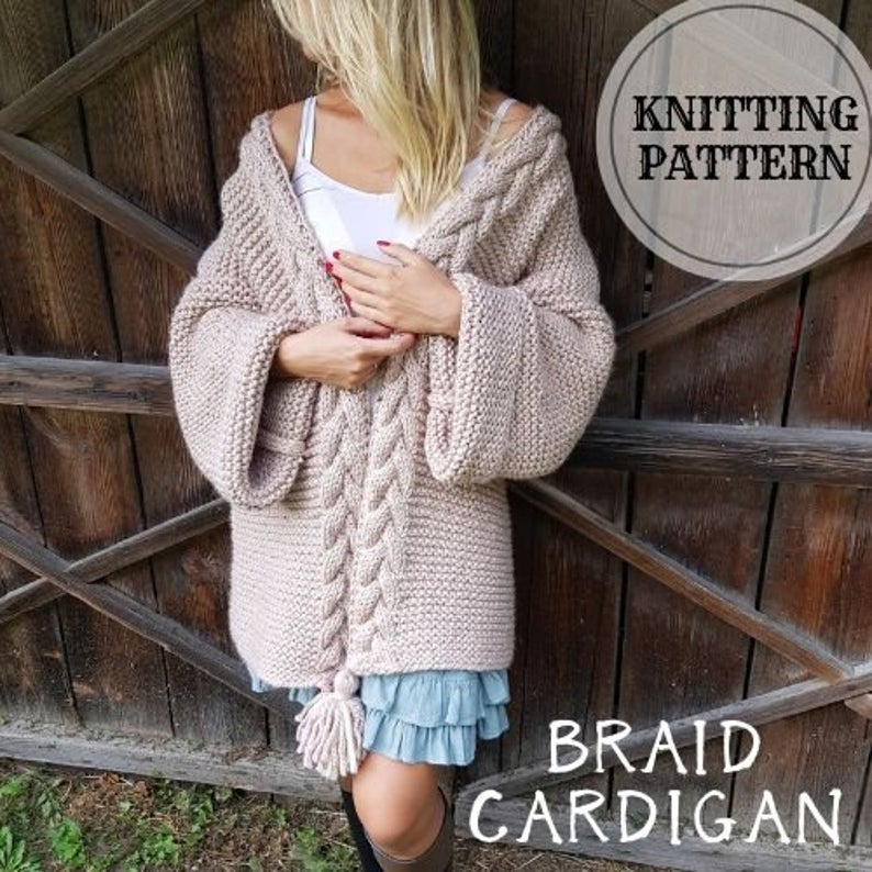 Chunky Cardigan Chunky Knitting Pattern Cable Cardigan