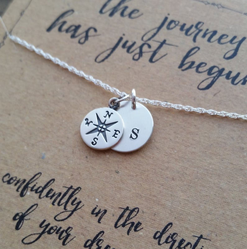 Compass Necklace . Graduation Gift . The Journey Has Just