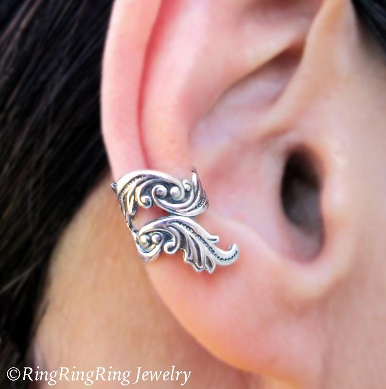 Dancing Feather ear cuffs No.2 Sterling Silver Ear Cuff