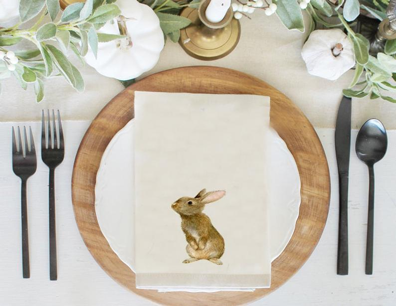 Gift for Her  Spring Table Napkins   Bunny Rabbits Napkin