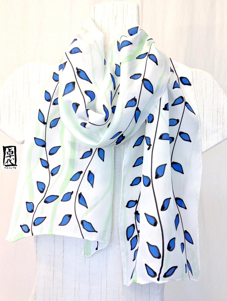 Hand Painted Silk Scarf Blue and Green Vines Summer Scarf