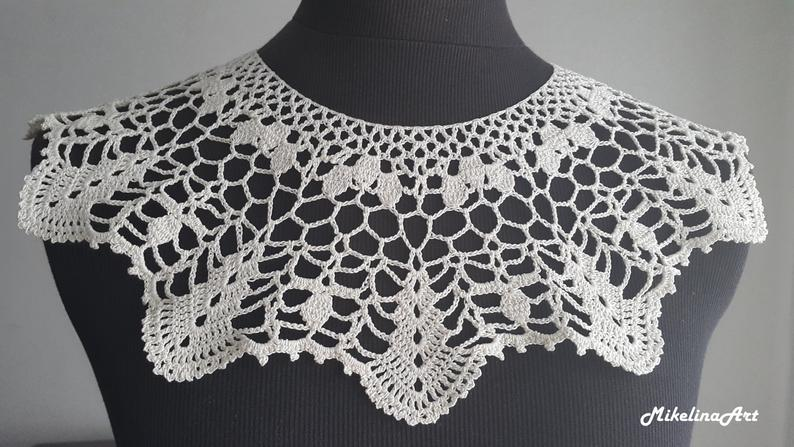 Handmade Crochet Collar Neck Accessory Ivory 100% Cotton