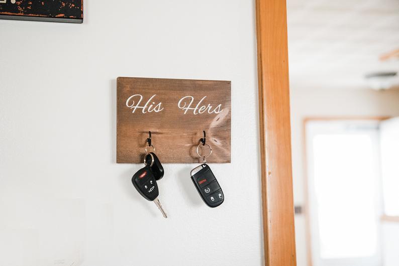 Housewarming Gift His and Hers Key Holder Key Hooks