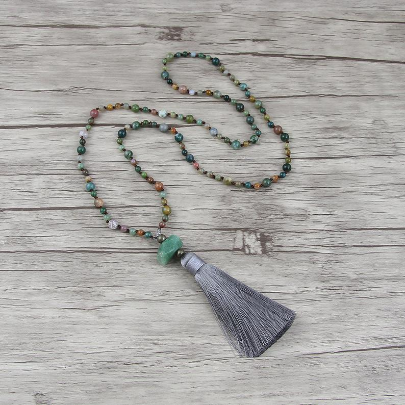 India agate bead necklace Bead tassel necklace Chic Gemstone