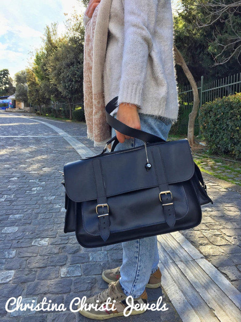 Leather Briefcase Women Black Leather Messenger Bag