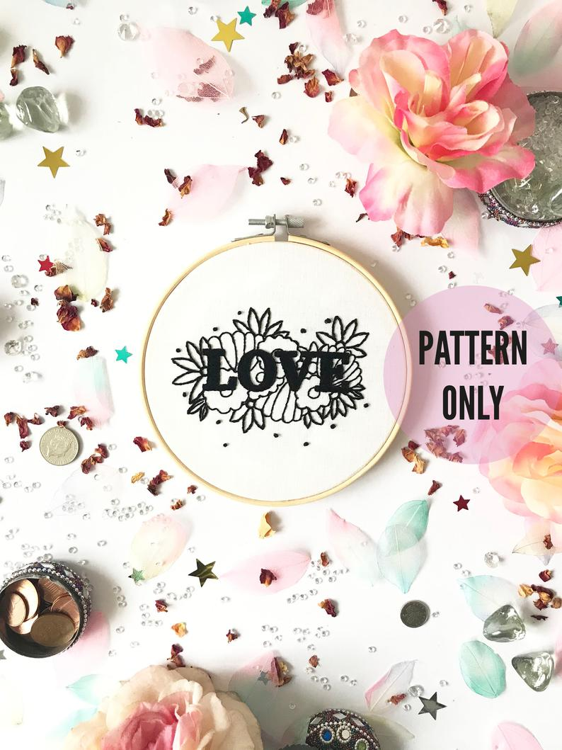 Love Embroidery Pattern needlecraft pattern embroidery