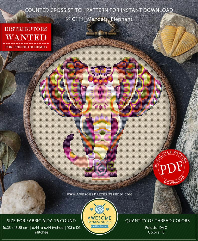 Mandala Elephant P111 Embroidery Cross Stitch Pattern