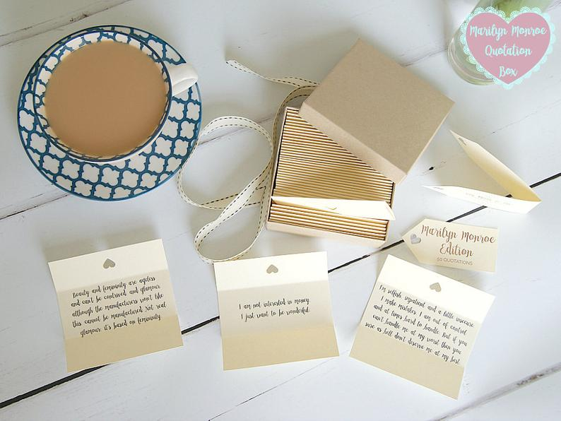 Marilyn Monroe Quotes  Box of 50 Handmade Quotations