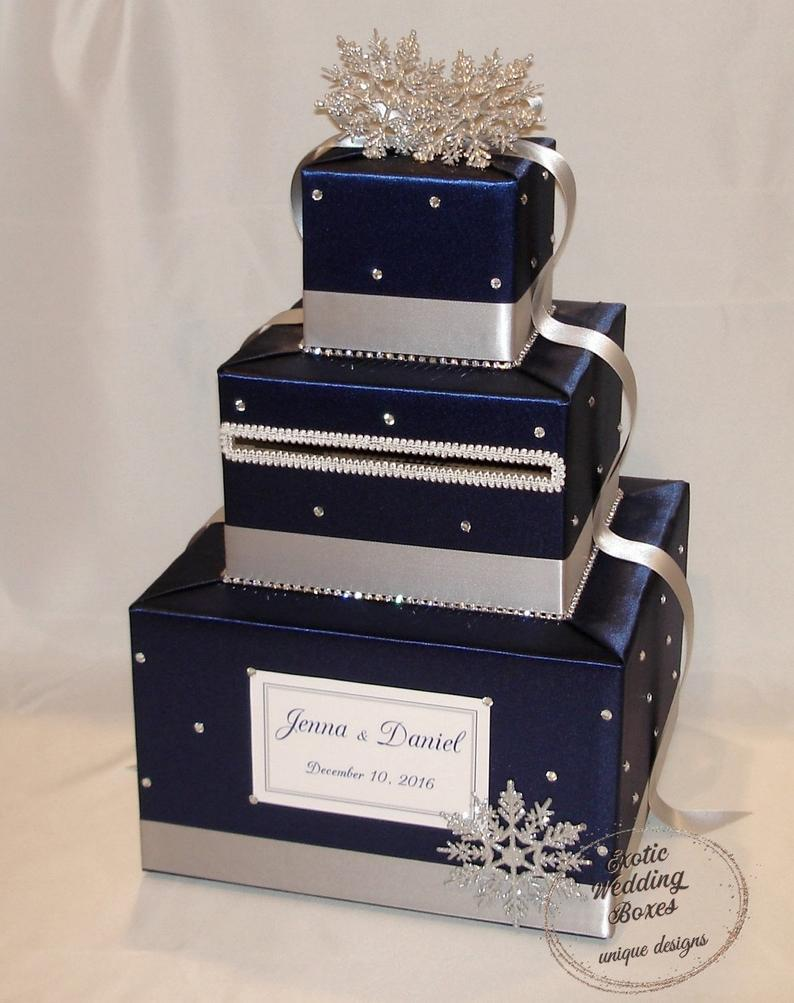 Navy Blue and Silver Winter/Snowflake theme Wedding Card