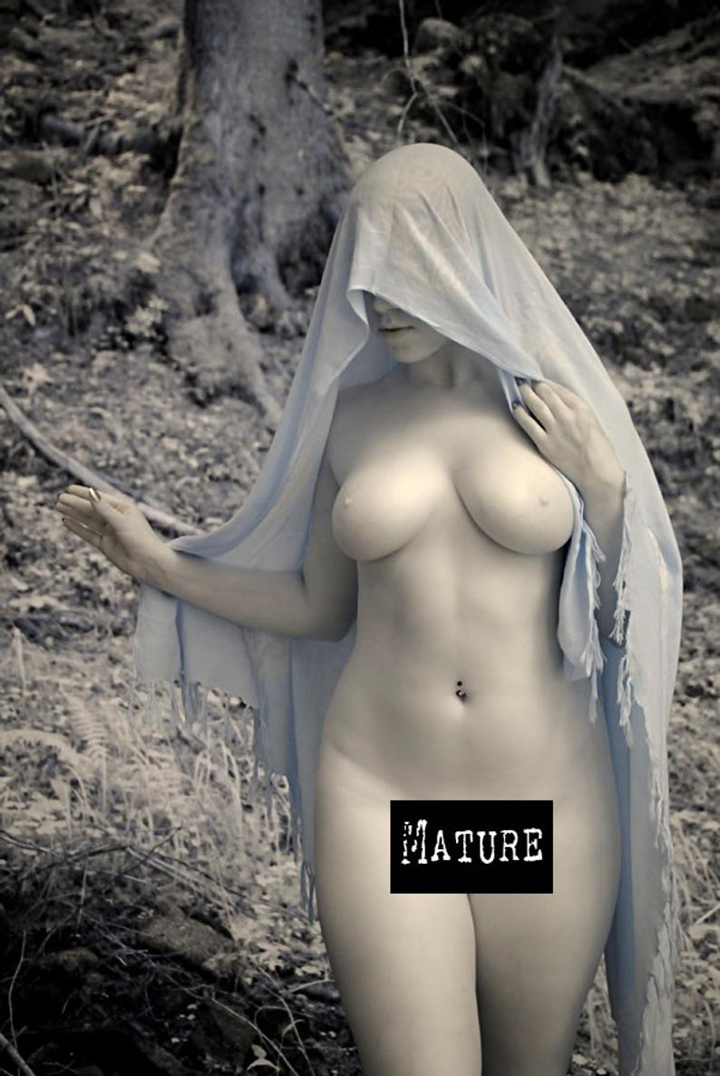 Nude in nature pagan naked art female model in forest infrared
