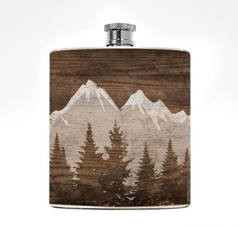 ON SALE Mountain Flask Mountain Wedding Gift Mens Drinking