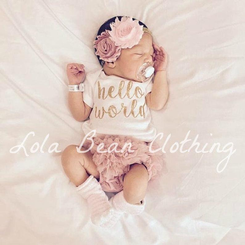 PREORDER Baby Girl Take Home Outfit Newborn Hello World