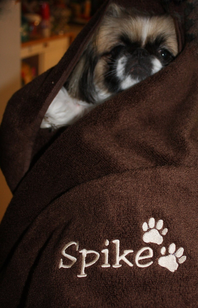 Personalized Pet towel  with embroidered name and Paw Print